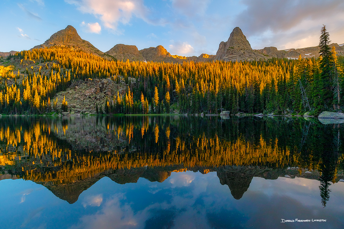 Landscape photograph of sunset on Spirit Lake in Rocky Mountain National Park, Colorado. - Colorado Picture