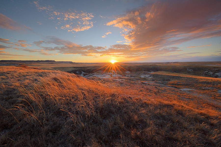Scenic landscape photograph of a sunset over the prairie at Oglala National Grasslands. - Nebraska Photography