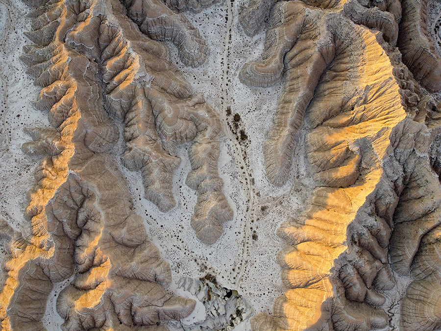 An abstract drone landscape photograph of the badlands Toadstool Geologic Park in western Nebraska. - Nebraska Photography
