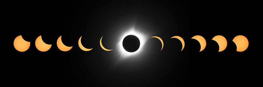 A composite of phases captured about every 15 minutes during the Eclipse of the Century.  An amazing sight over the skies of Nebraska. - Agate Fossil Beds NM Photography
