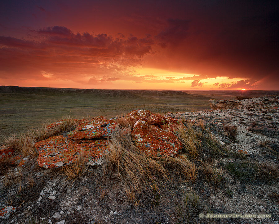 Sunset at Agate Fossil Beds National Monument in western Nebraska after an intense summer storm. - Nebraska Photography