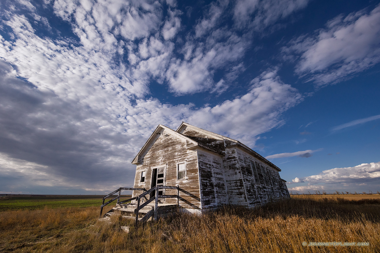 A scenic photograph of an old one-room schoolhouse in the pandhandle of Nebraska. - Nebraska Picture