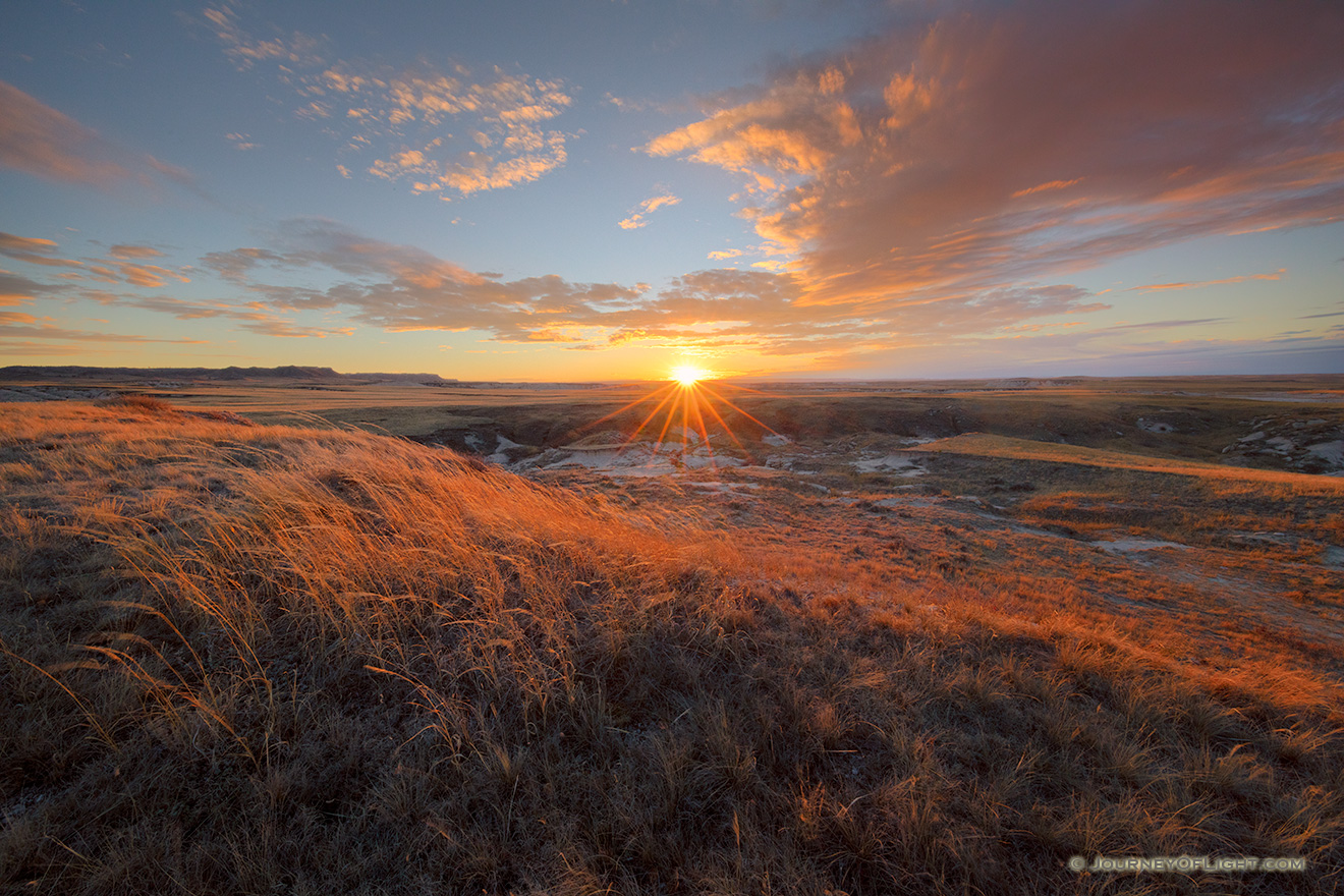 Scenic landscape photograph of a sunset over the prairie at Oglala National Grasslands. - Nebraska Picture