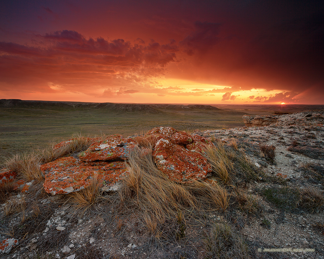 Sunset at Agate Fossil Beds National Monument in western Nebraska after an intense summer storm. - Nebraska Picture