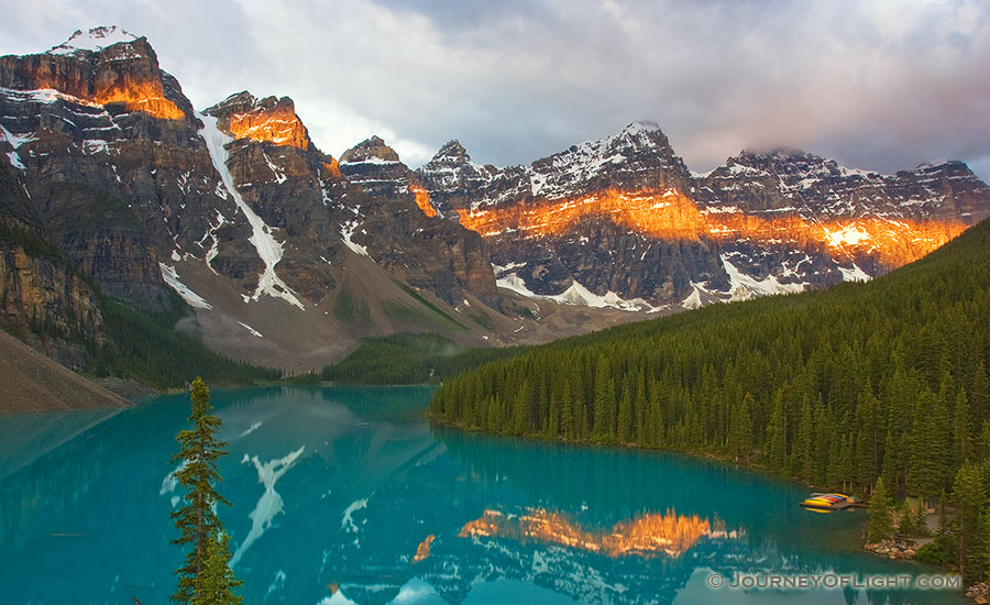 Lake Moraine in the Valley of the Ten Peaks at Sunrise. - Banff Photography