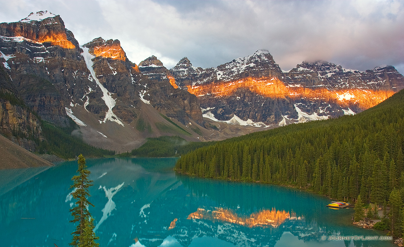 Lake Moraine in the Valley of the Ten Peaks at Sunrise. - Banff Picture