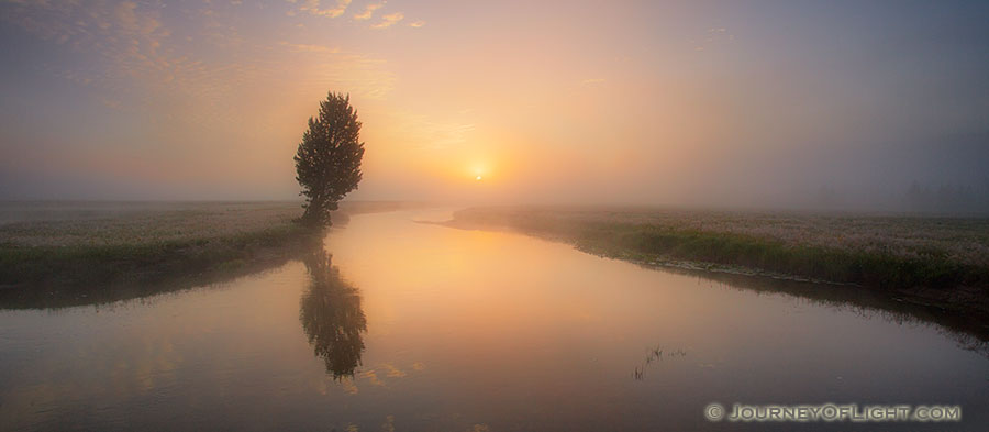 On a foggy morning I enjoyed this sunrise on the Gibbons River, the quiet, rhythmic trickling of the water the only sound. - Yellowstone National Park Photography